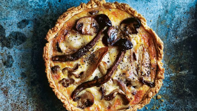 Mixed mushroom and taleggio quiche